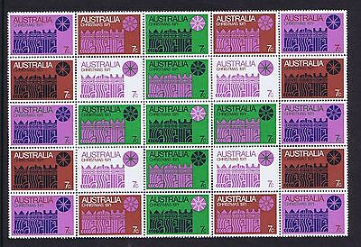 Australian Decimal Stamps 1971 7c Christmas Block of 25 Stamps  MNH