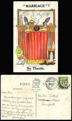 Marriage? No Thanks. Man Smoking Tobacco Fine Old Whisky Boots 1914 Old Postcard