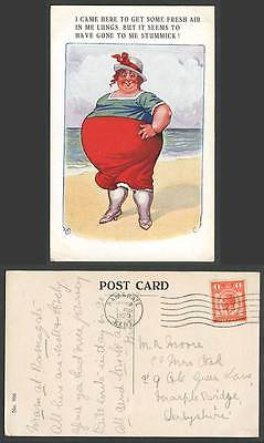 Fat Lady Woman Get Fresh Air in Me Lungs, But Gone to Stummick 1929 Old Postcard