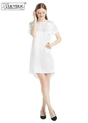 NEW LILYSILK 22 Momme Exquisite White Piping Short Silk Pajamas Set ... 93923a8beac8