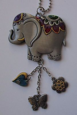 o LUCKY ELEPHANT trunk up MIRROR car CHARM REAR VIEW ornament color ganz er46654