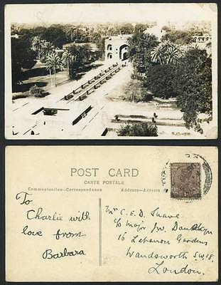 India KGV 1a stamp Old R.P. Postcard Gardens Palm Trees