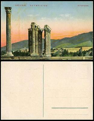 Greece Old Colour Postcard Athenes Athens Olympieion Ruins Sunset Mountains Hill