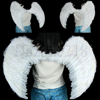 Black White Feather Angel Fairy Wings Halo Halloween Fancy Dress Gothic 100cm 80