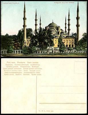Turkey Constantinople Old Colour Postcard Mosquee Sultan Ahmed Mosque, Istanbul