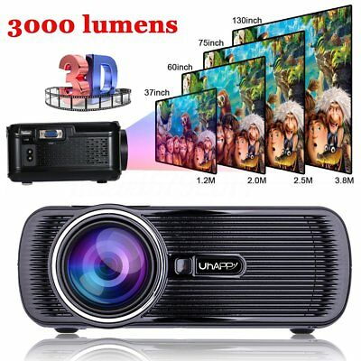 3000 Lumens 1080p HD LED Home Theater Cinema Projector Video HDMI USB VGA UK