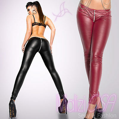 Leggings donna pantaloni leggins Wetlook Similpelle Zip liquid nuovi