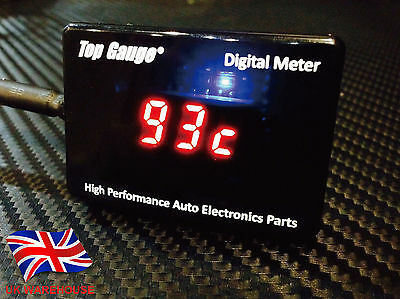 Top Gauge Motorcycle Digital Water Temp Gauge Meter Red LED Waterproof In UK