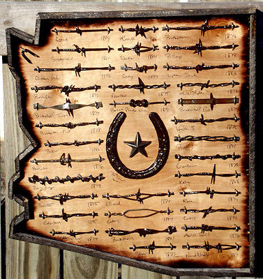 Rustic Arizona Antique Barbed Wire Display with Horse Shoe Barn Wood Framed
