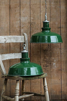 Vintage Antique Industrial Green Maxlume Enamel Factory Pendant Lamp Light Shade
