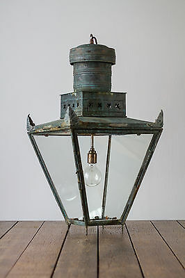 Antique Georgian Vintage Industrial Copper English Street Light Lamp