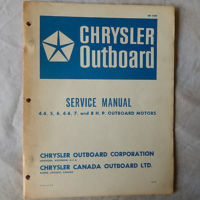 Chrysler Outboard Service Manual 4.4, 5, 6, 6.6, 7, and 8hp