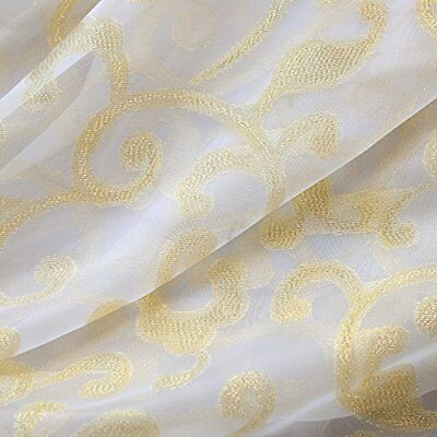 Transparent Organdy Sheer Curtain Sliding Glass Door Drape Golden Thread 1 Panel