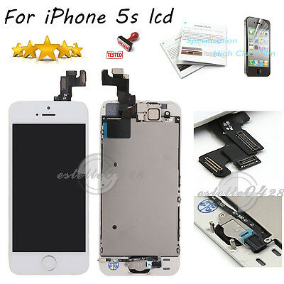 For iPhone 5S White LCD Touch Screen Digitizer Camera Home Button Replacement UK