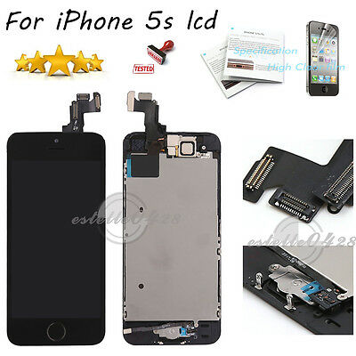 For iPhone 5S Black LCD Touch Screen Digitizer Camera Home Button Replacement UK