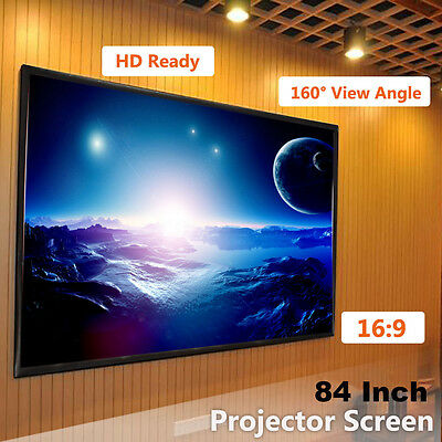 """84"""" 16:9 inch Fabric Matte White Projector Projection Screen Home Theater HD"""