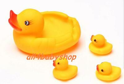 4pcs Yellow Baby Bath Bathing Ducks Rubber Squeaky Squeaker Duck Ducklings