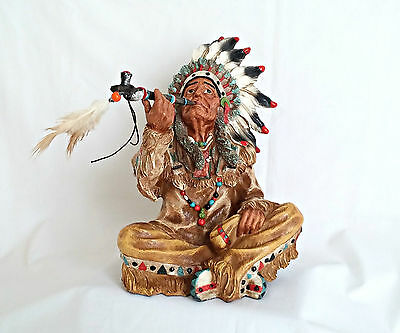 Native American Indian Holding Peace Pipe - 24.5cm Tall