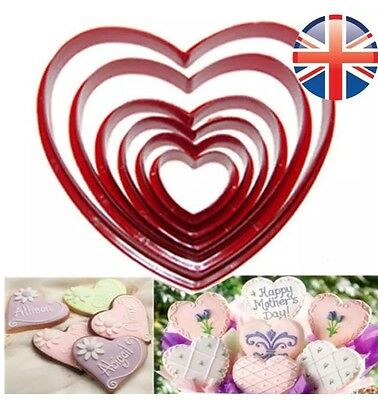 6 Nesting Love Heart Cookie Biscuit Cutter Set Fondant Icing Sugarcraft