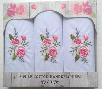 Rose Garden Set of 3 Beautiful Embroidered Floral 100% Pure Cotton Handkerchiefs