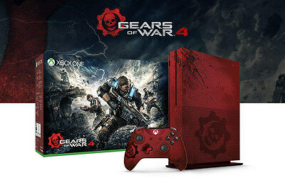 Xbox One S Gears of War 4 Limited Edition Bundle 2TB Red Console & Controller