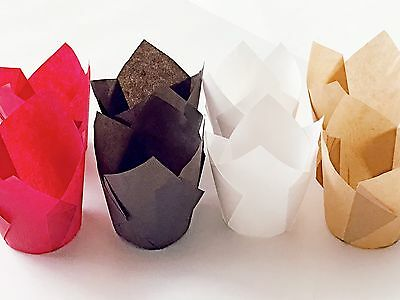 100 ct. Tulip Muffin Cupcake Liners Variety Lot Red Natural White Brown Cups