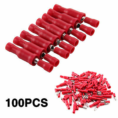 100Pcs Red Male Female Electrical Bullet Crimp Wire Terminals Connector Wiring