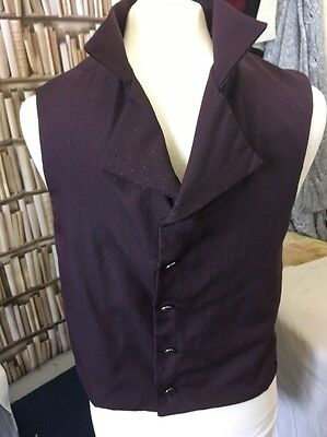 Regency Style, Plum With Fine Stripe And Dot Design, Waistcoat