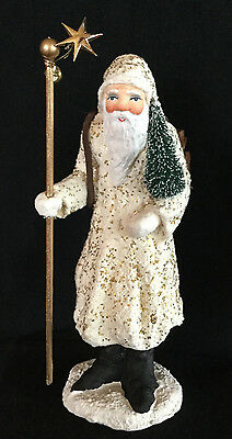 FATHER FROST with CANE AND TREE #96652 DEPT 56 PAPER PULP