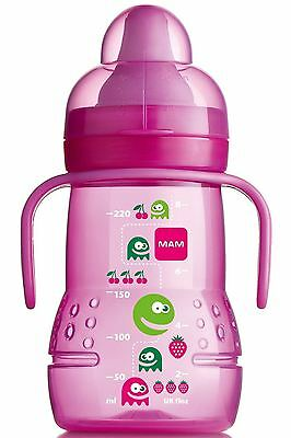 MAM Trainer Baby Bottle Monster Design Pink Non-Spill Spout Cup 4m+ BPA Free New