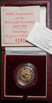 Great Britain 1989 500  Anniversary  Full Sovereign Gold Proof Coin