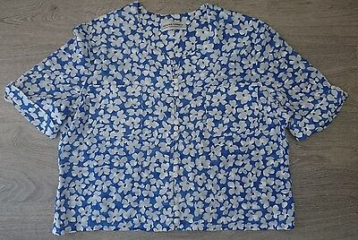 Vintage French Blue and White Floral Blouse Size Large