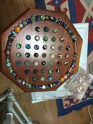 Large 30cm Solitaire Board With 30 Spiral Swirl Boro And 90 Vintage Marbles