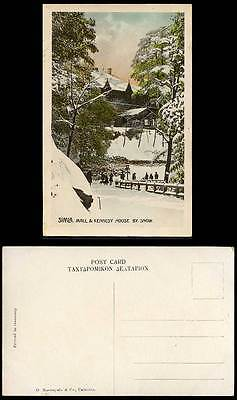 India Old Colour Postcard MALL & KENNEDY HOUSE by Snow Simla, Winter Snowy Scene