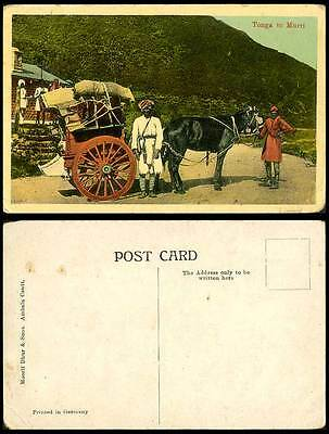 Pakistan Old Colour Postcard Tonga to Murri Murree Horse Drawn Cart Wagon, India