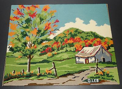 "Lovely  completed  needlepoint - OCTOBER  -    20""  X  16"""