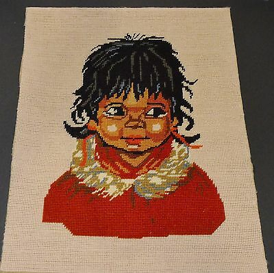 "Beautiful Vintage Needlepoint -   Cute Little  Native  Girl   17""  x 14"""