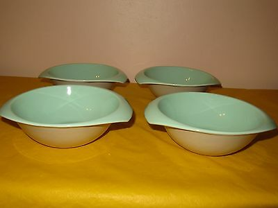 """4 BRANKSOME Grey&Green BOWLS with TWO HANDLES dia 6"""" , hardly used in VGC"""