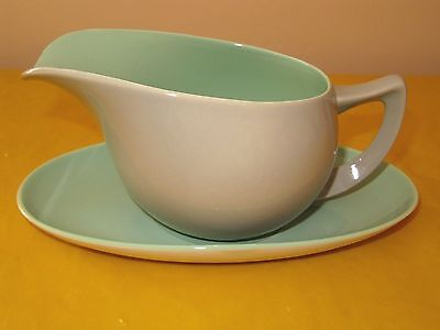 BRANKSOME Grey&Green GRAVY BOAT&STAND firing flaws, hardly used in VGC(0.45/248)