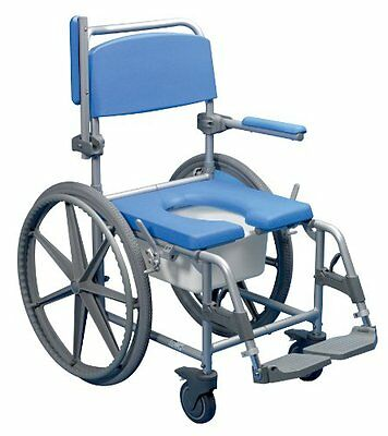 Days Deluxe Blue Self Propelled Wheeled Shower Commode Toilet Chair Disability