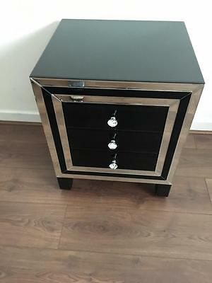Pair of Mirror and Black Glass Bedside Tables