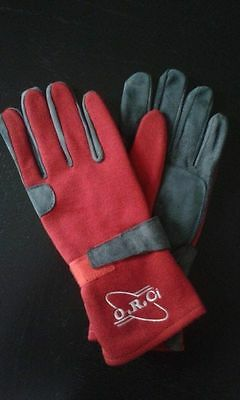 Red Nomex Fireproof Racing Gloves Ministox Banger Brisca Race Rally Autograss