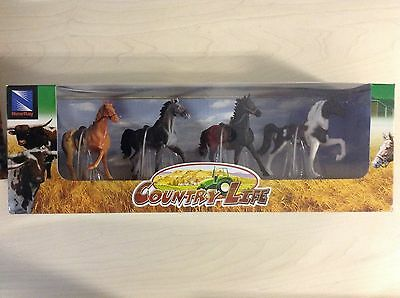 NEWRAY Country Life Animals Horse Cow Cattle Figures Models Farm Ranch Play