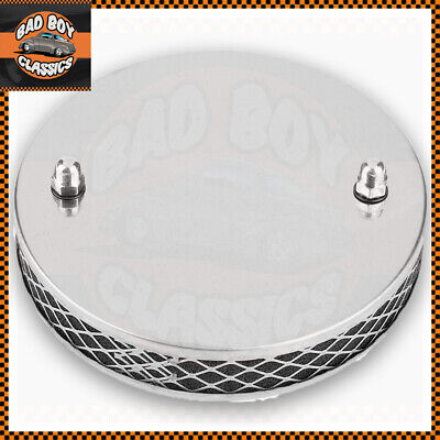 """Chrome Finish Stainless Steel Pancake Sports Air Filter SU 1 3/4"""" HS6"""