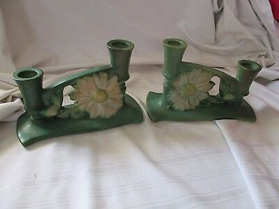 Roseville pottery pair of green double candleholders Peony flower USA 1153