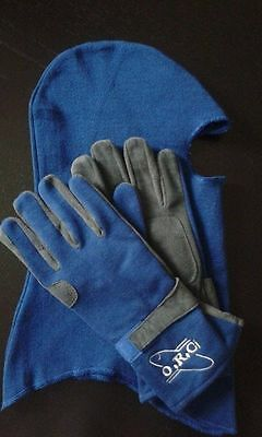 Blue Nomex Fireproof Racing Gloves+Nomex Balaclava Ministox Banger Brisca Rally