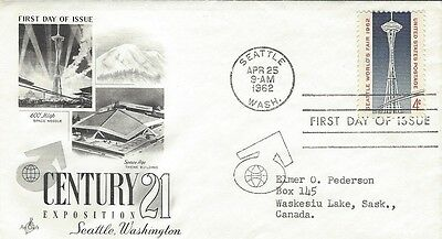 1962 #1196 Century 21 Exposition FDC with Art Craft cachet