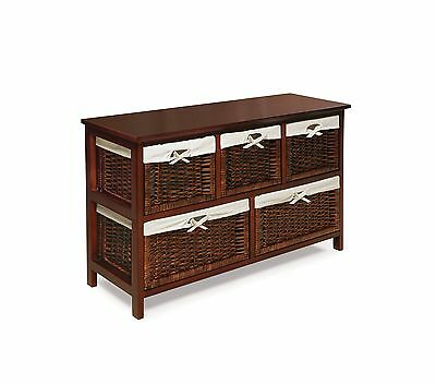 Badger Basket Five Basket Storage Unit with Wicker Baskets Cherry