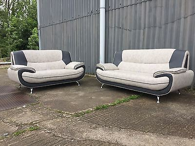 new palermo deluxe faux leather 3+2 seater sofa in beige/ dark grey