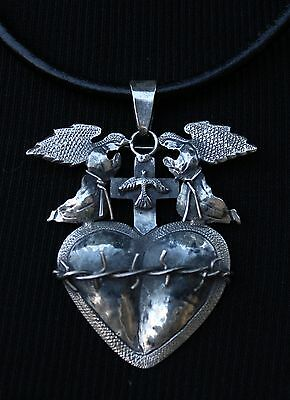 Sterling Sacred Heart, Thorns Angels & Dove Pendant / Pin Mexico Folk Art Oaxaca